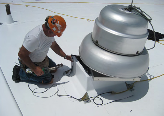 Commercial roofing contractor in Colorado Springs details an HVAC unit with PVC membrane