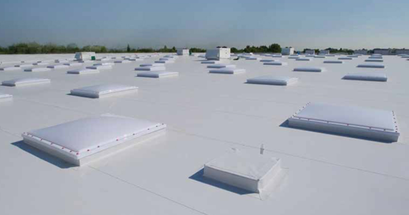 Commercial reroofing project in Colorado Springs