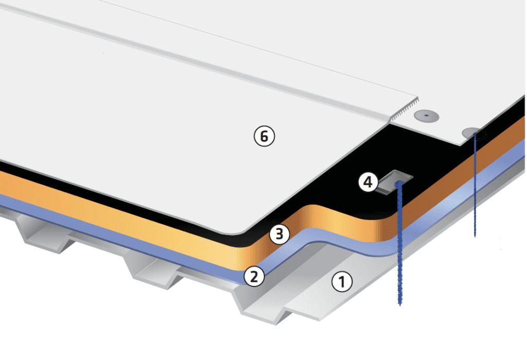 commercial single-ply PVC mechanically attached roofing assembly