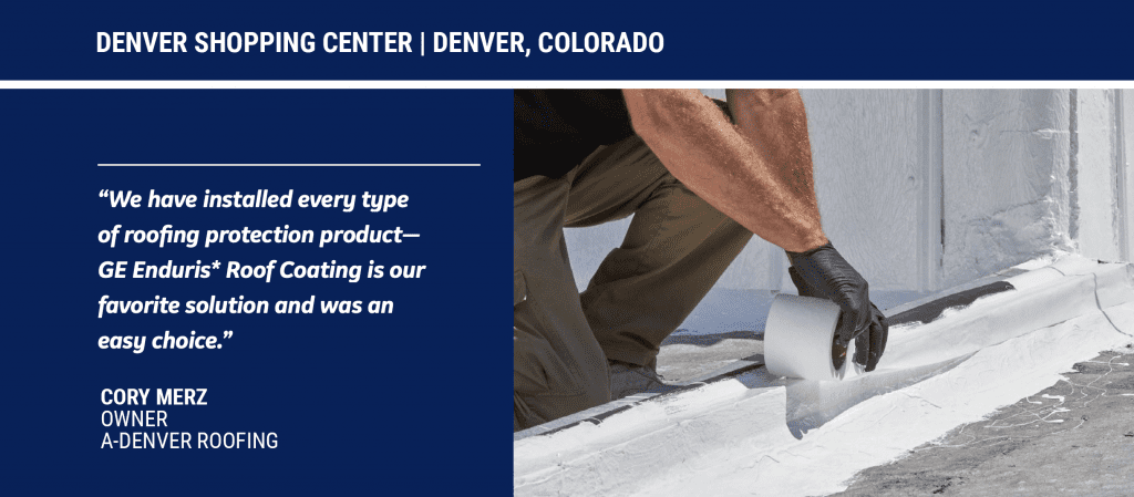 installation of silicone roof coatings on a commercial building in Denver